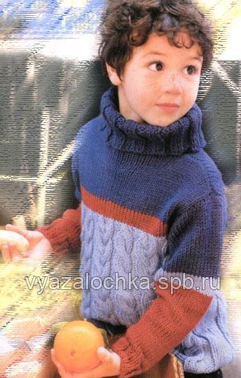Простая схема вязания спицами детского свитера на 2 года