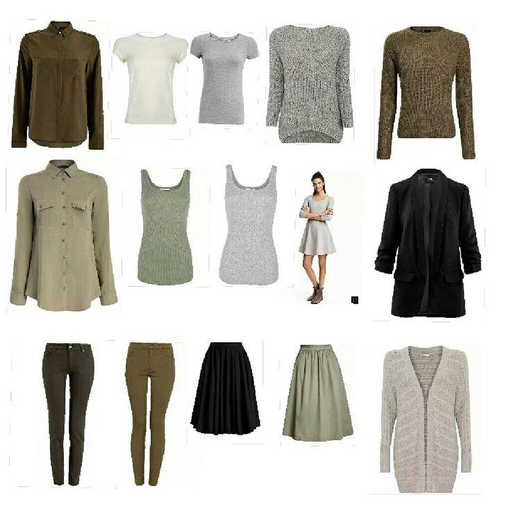 Минималистский гардероб. Хаки/Серый/Чёрный