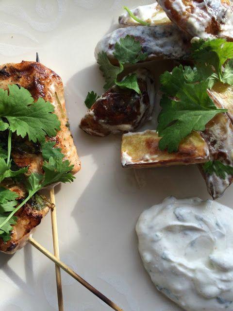 Ruokapankki: Marokkolaista lohta ja itämaisia perunoita minttujogurtin kera, täydellistä!