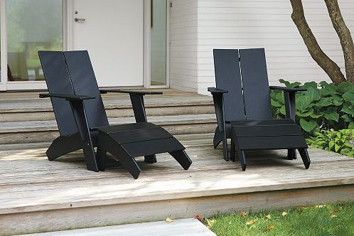 modern adirondack, by loll designs - purchase at room & board (chair and stool) http://www.roomandboard.com/catalog/outdoor/chairs-and-chaises/emmet-tall-lounge-chair-and-ottoman