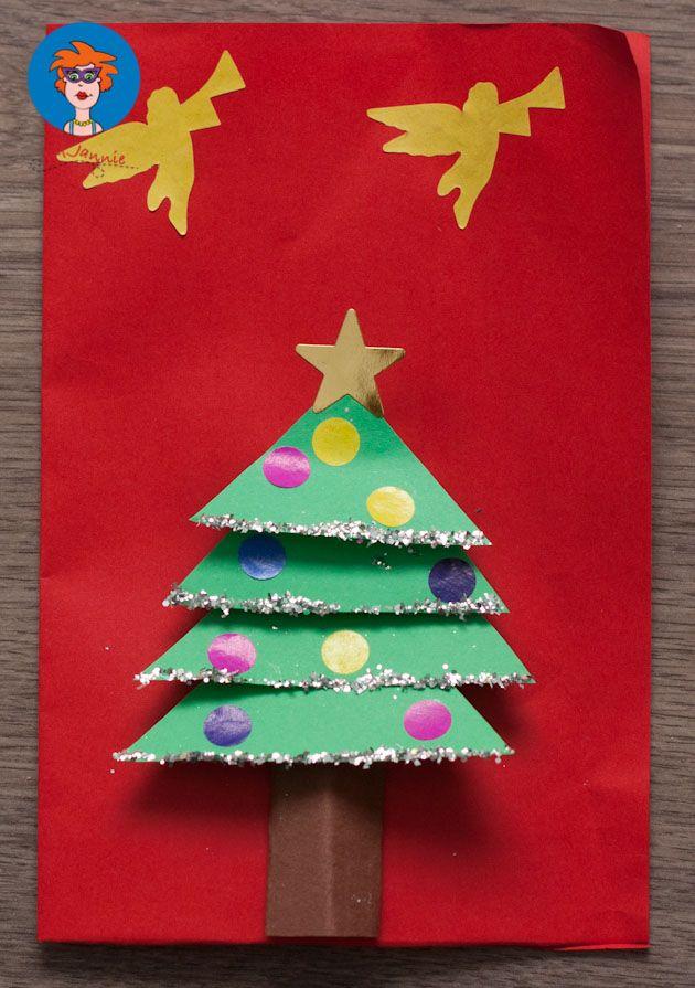 Kerstkaart met kerstboom - knutselen - Juf Jannie