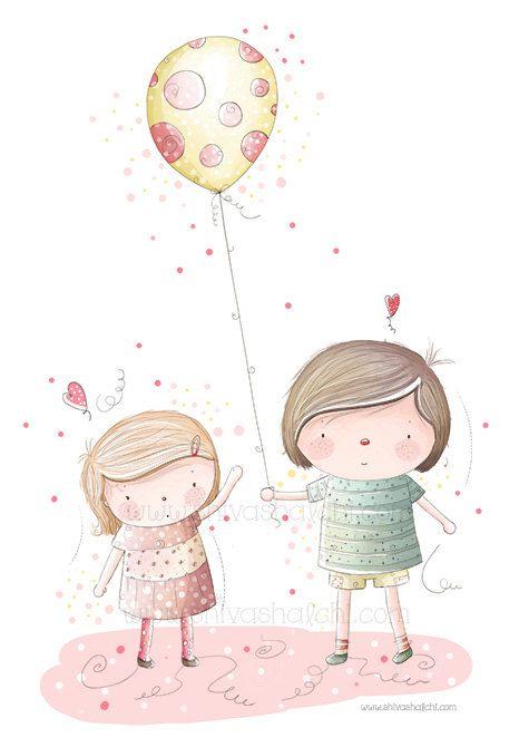 Illustrazione di bambini - fratello e sorella, gli amici amore giocando di ShivaIllustrations su Etsy https://www.etsy.com/it/listing/152407135/illustrazione-di-bambini-fratello-e