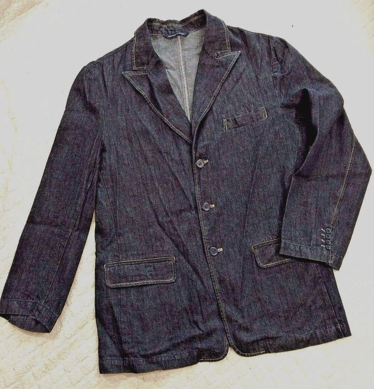 Gear Seven Collection Denim Blazer Jacket Size L SteamPunk Sword Print Design #SevenGearCollection #ThreeButton
