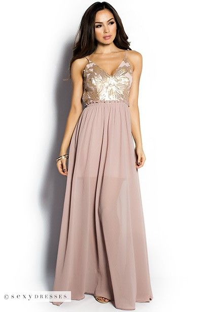 """""""Bella"""" Dusty Pink Sequin Bodice Strappy Goddess Maxi Dress Gown"""