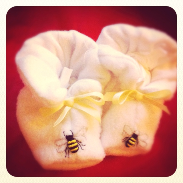 Buzzy bee baby booties from Montville, Qld. So cute!