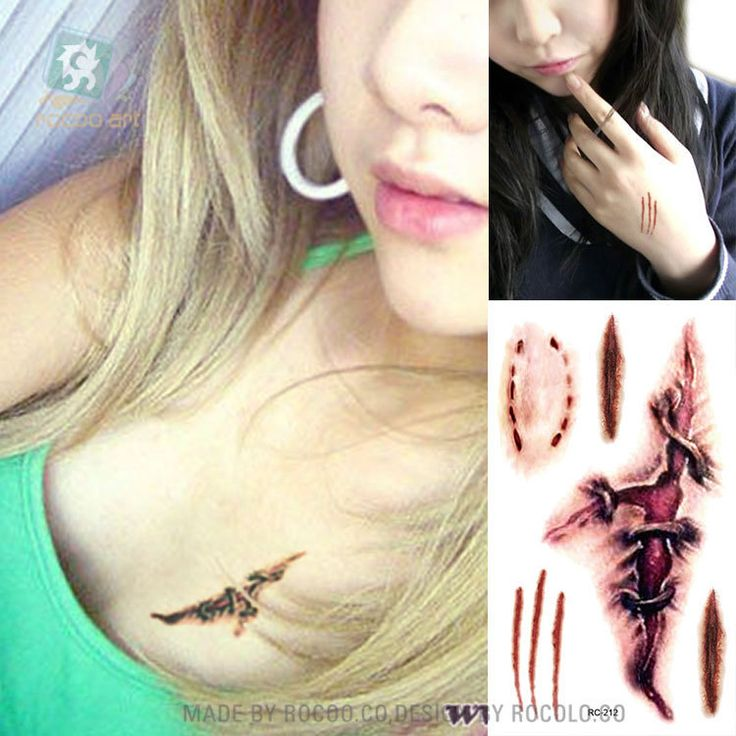 temporary tattoos for lady women 3d realistic blood scar design tattoo ...