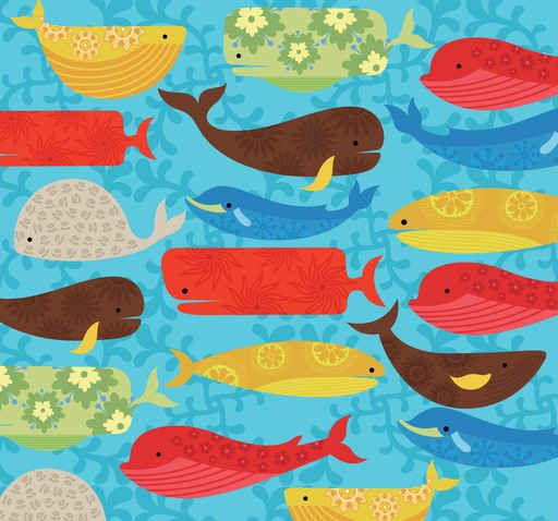 Abstract Whale Cartoon Pattern