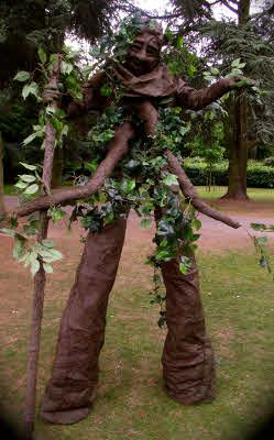 Theme adult tree costume with stilts