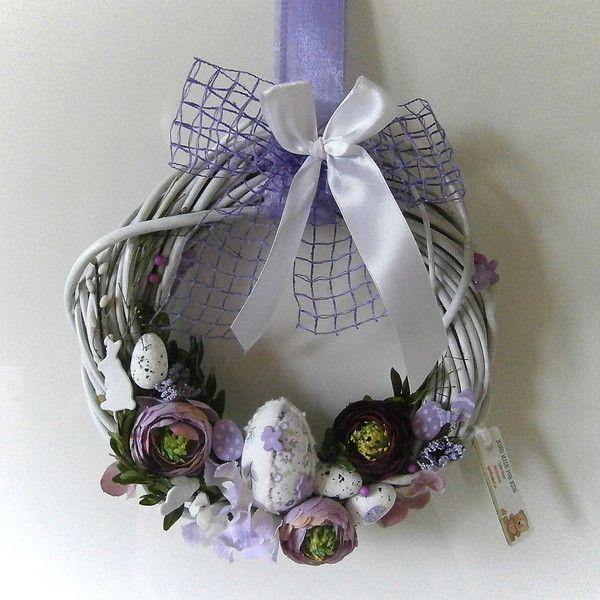 wianek wielkanocny wiklina fioletowy w Hand Made Lidia na DaWanda.com