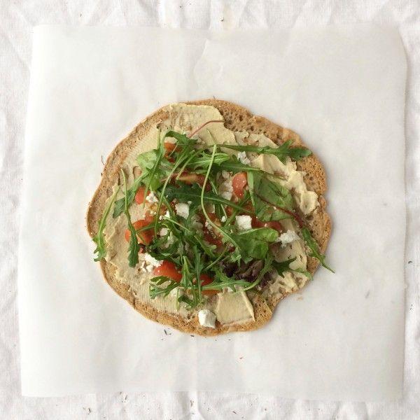 Wrap+met+humus,+groenten+en+rucola