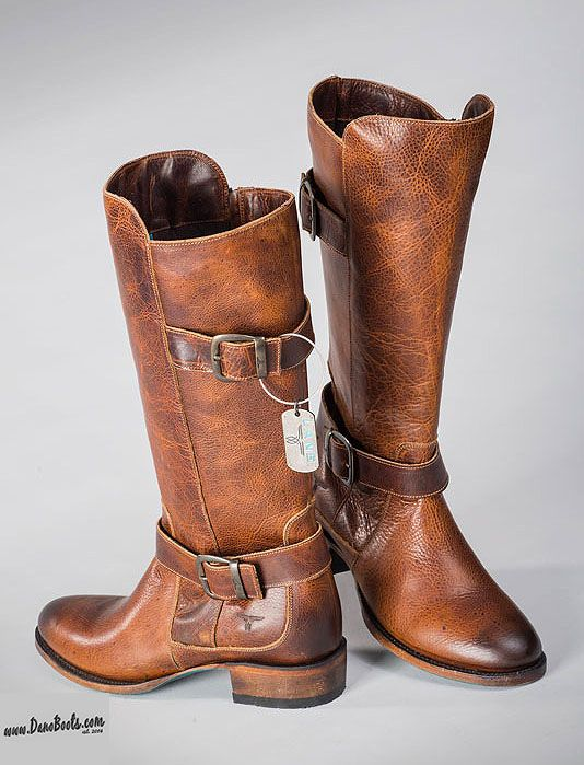 """Keep your feet warm, dry and cozy this winter with Lane's heavy duty Buckleroo American riding boots. All leather, 13-14"""" tops, lemonwood pegged soles; Built to last."""