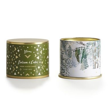 Illume Balsam & Cedar Large Tin.  More candle. More fragrance. More to love. Crafted from our exclusive vegetable soy and paraffin wax blend with a cotton wick. 50 hour burn time. Price: $18.50