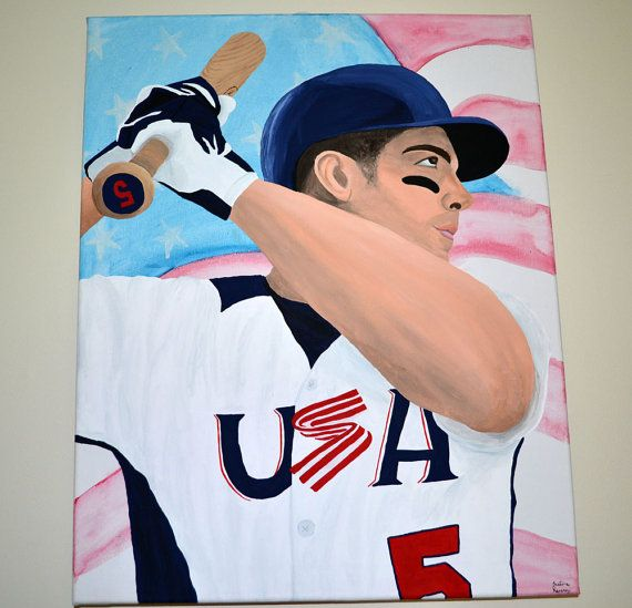 David Wright Team USA Baseball Painting New York Mets NL Home Run Derby Captain MLB by 21CannonSalute, $200.00