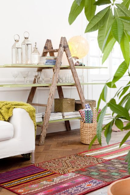 Ladder bookshelves in furniture  with Repurposed ladder