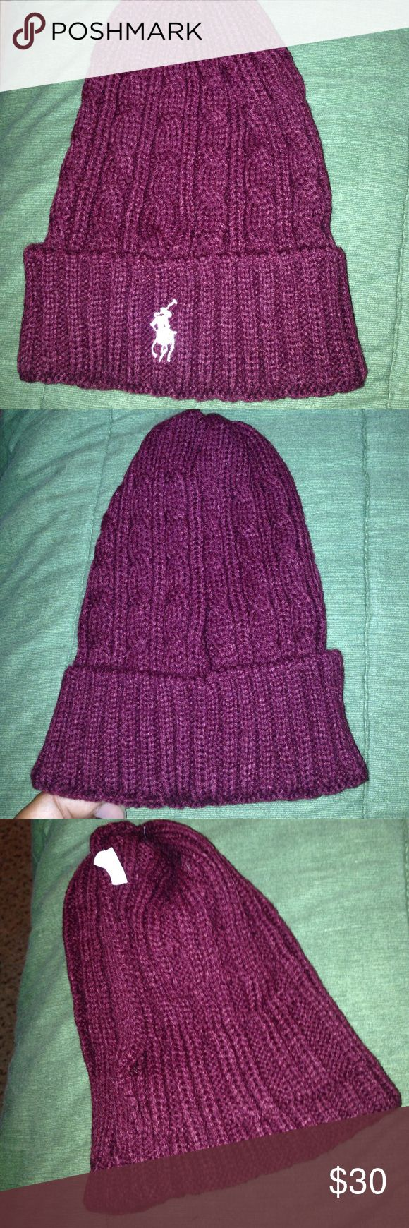 Polo Beanie Burgundy Polo Beanie with white horse. Polo by Ralph Lauren Accessories Hats