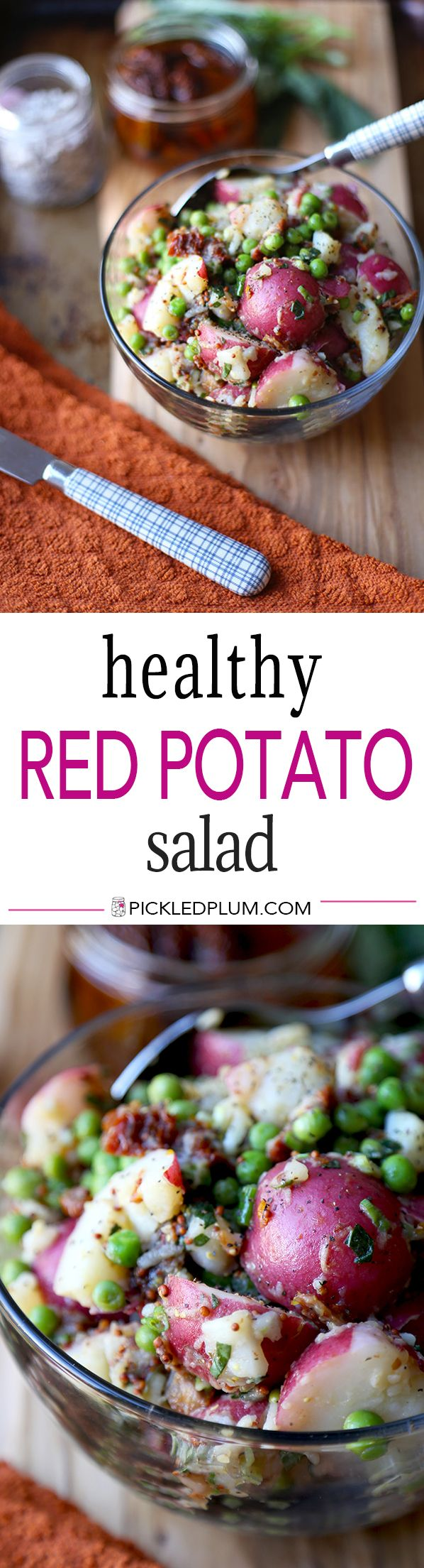 Healthy Red Potato Salad - A deliciously tangy red potato salad with sun dried tomatoes,  green peas and basil, tossed in a light mustard and vinegar dressing. Ready in 15 minutes! Take it to lunch! | pickledplum.com