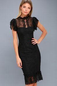 Meet Me in Manhattan Black Lace Midi Dress