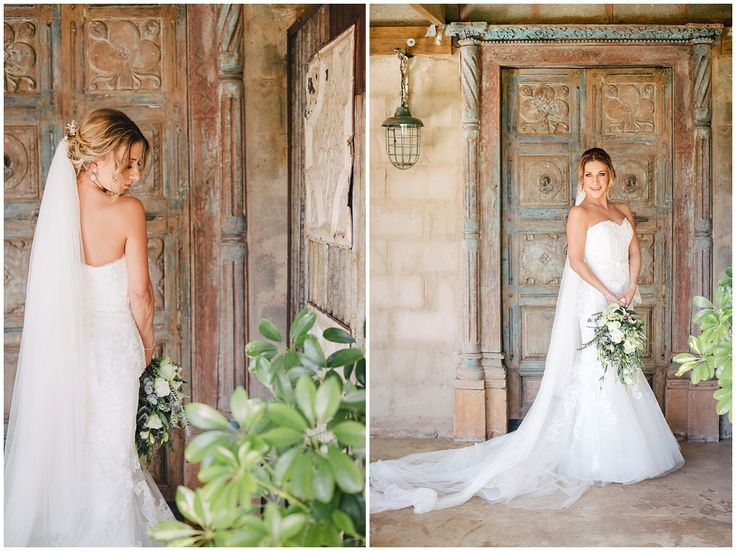 www.vanillaphotography.co.za | Durban wedding photographer, Durban wedding venue, Crystal Barn wedding venue, rustic wedding venue, boho venue, bridal portrait, lace, strapless, peplum, wedding gown, long veil, long lace train, loose bridal updo.
