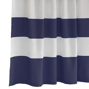 Amazing Stripe Shower Curtain   Dusty Navy Amazing Ideas