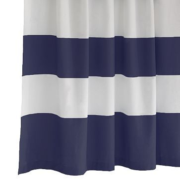 E Stripe Shower Curtain 72 X74 White Navy On Could Use This As A Curtain For The