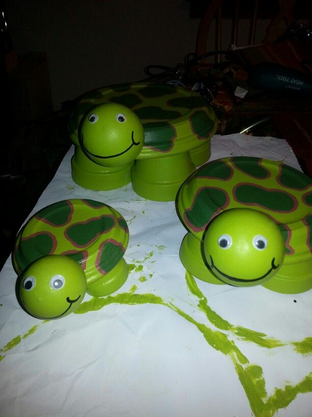 Clay pot turtles.