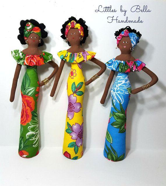 Textil muñecas africanas muñecas hechas a mano muñecas negras muñecas cultura del americano del sur figura humana muñeca morena muñeca de trapo folclore de Brasil