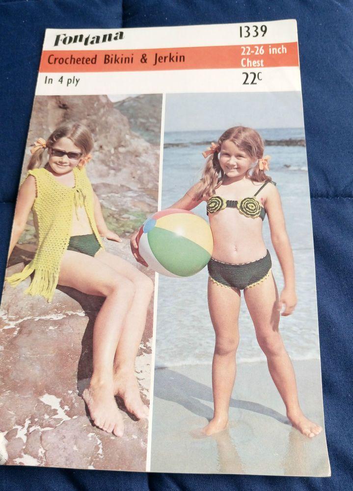 Girl's Crocheted Bikini & Jerkin Fontana 1339 vintage crochet pattern #Fontana