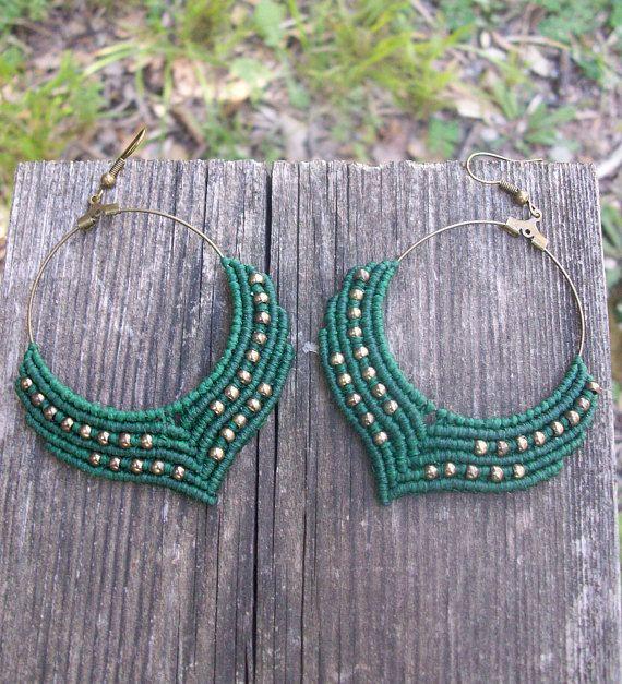 Macrame gipsy, hoop earrings - Micro macrame, women fashion, boho earrings, boho jewelry, gipsy style!!