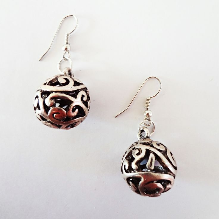 Antiqued silver earrings with vine designs by Chobhi