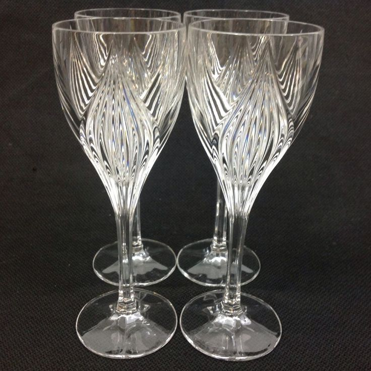 Gorham Primrose FOUR Crystal Wine Goblets Glasses 8 Inches Tall #Gorham