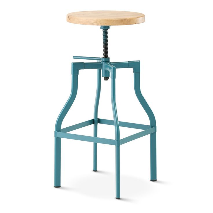 Max Industrial Bar Stool Matt Teal With Solid Ash Seat - Black Mango