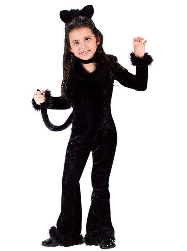 A Little Girl Wearing A Black Cat Costume
