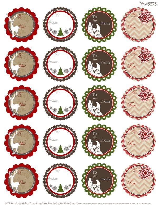 Free printable To and From round labels / tags for all you gifts by @Erin B B B Rippy - Ink Tree Press