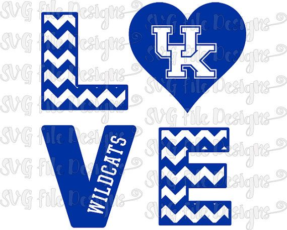 Chevron Love University of Kentucky Wildcats by SVGFileDesigns
