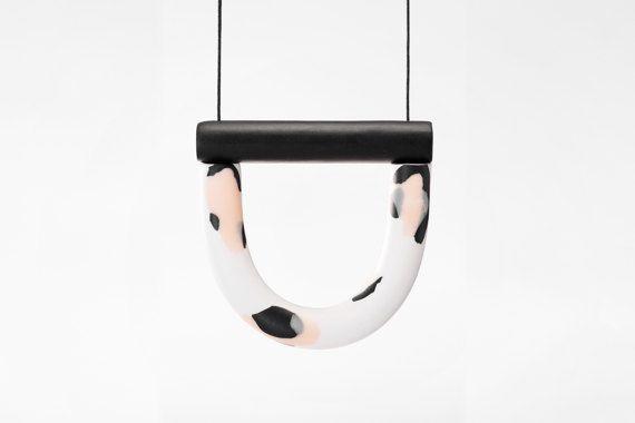 OVERSIZED Print U / Black bar necklace by jackbysam on Etsy