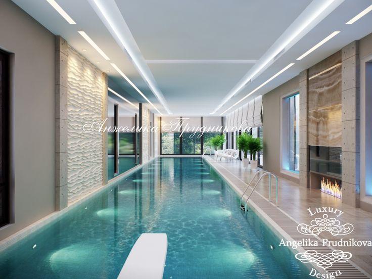 Интерьеры частного бассейна в современном стиле — фото проекта, 3D-визуализация - Дизайн бассейна