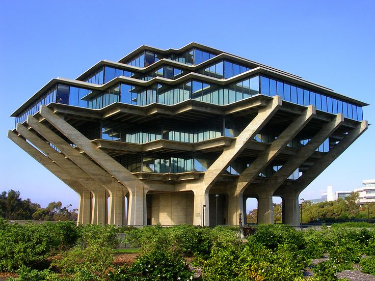 Spaceship Reading Is Fundamental! by Mel(SD) on Flickr.  The most awesome looking Geisel Library at UC-San Diego. I like how you can see the Dr. Seuss statue dwarfed below this massive architectural beauty.    Designed in the late 1960s by William Pereira. The tower is a prime example of brutalist architecture. It rises 8 stories to a height of 110 ft (33.5 m).
