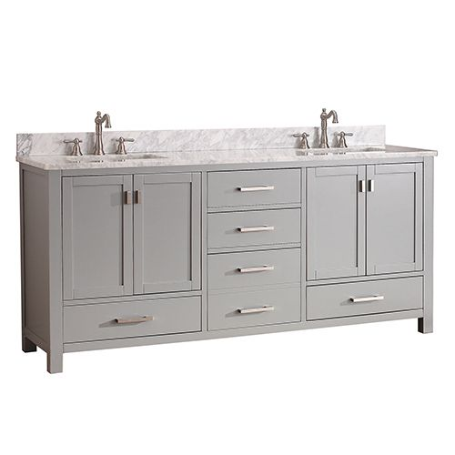 avanity modero chilled gray 72inch double vanity combo with white carrera marble top