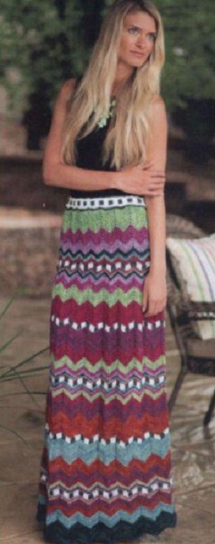Многоцветная юбка спицами