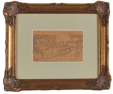 HALFDAN EGEDIUS DRAMMEN 1877 - CHRISTIANIA 1899  Outline for illustration of Snorre Kongesagaer: King their son Rørek and his men  Pencil on paper, 9,2x14,5 cm  unsigned