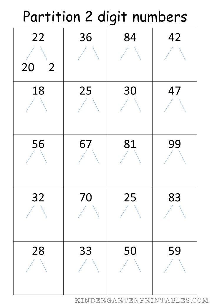 Partition 2 Digit Numbers Worksheet Free Printables Partition 2