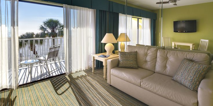Guests can enjoy views of the Gulf from their living rooms at Alden Suites: www.AldenBeachResort.com