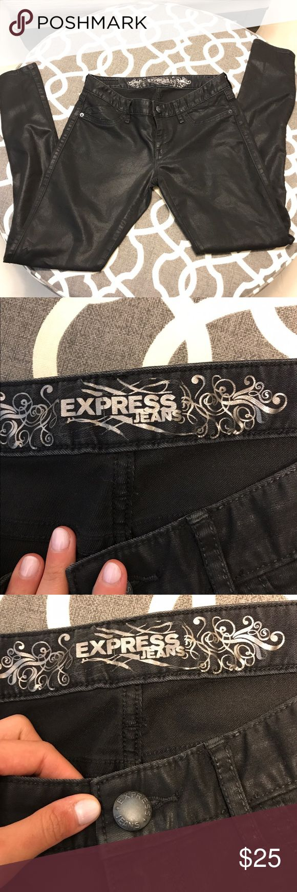 Shiny black skinny jeans Regular fit, low rise, Stella style. Black with shimmer makes it look like faux leather! Cuz at ankle to show off your fabulous shoes! Express Jeans Ankle & Cropped
