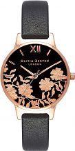 Ladies Olivia Burton Lace Detail Black & Rose Gold Watch OB16MV75