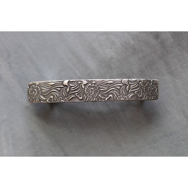French Barrette Botanical Sun Flowers Medium Size Sterling Silver Hair... ($55) ❤ liked on Polyvore featuring accessories, hair accessories, barrettes & clips, grey, hair clip accessories, floral hair clips, floral hair accessories, sterling silver hair clip and barrette hair clip