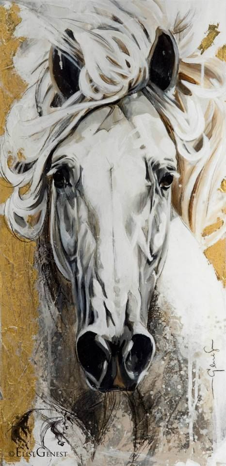 "Élise Genest Art et Chevaux ""Closer"" 12x24"" Disponible - available"