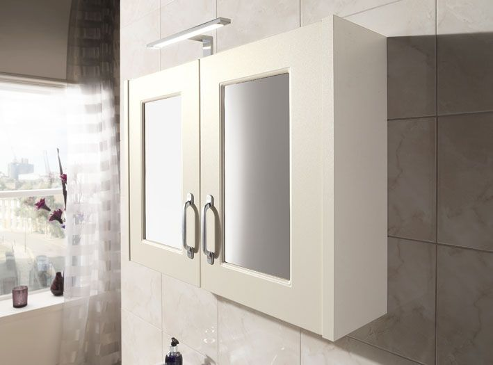 Soft ivory sits perfectly between cashmere and oak, contrasting nicely with white pottery and making it the ideal selection for any bathroom.
