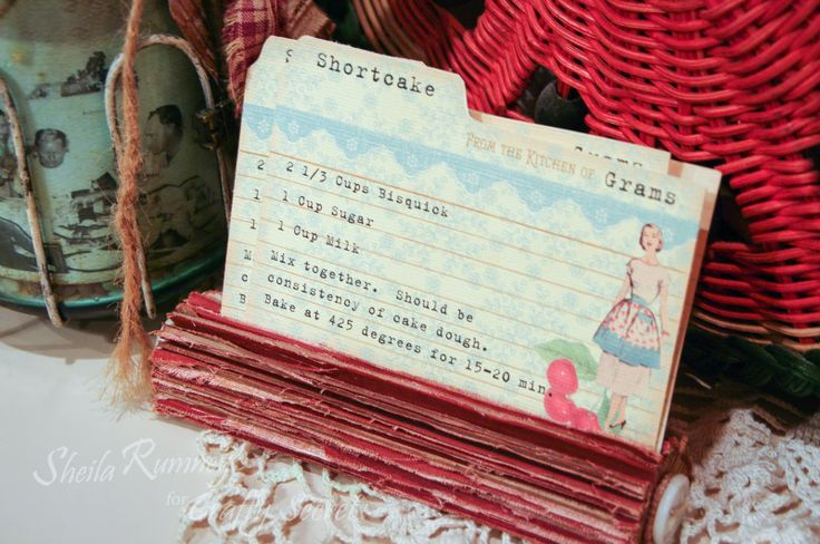 DT Member Sheila Rumney has a great Recipe Card Tutorial showing how to add images and text to create custom recipe cards. She used the cherries and 1 of 3 recipe cards from CD #1 Creating With Vintage Patterns. They would be great punched and added to a mini album or attached to a homemade edible gift.