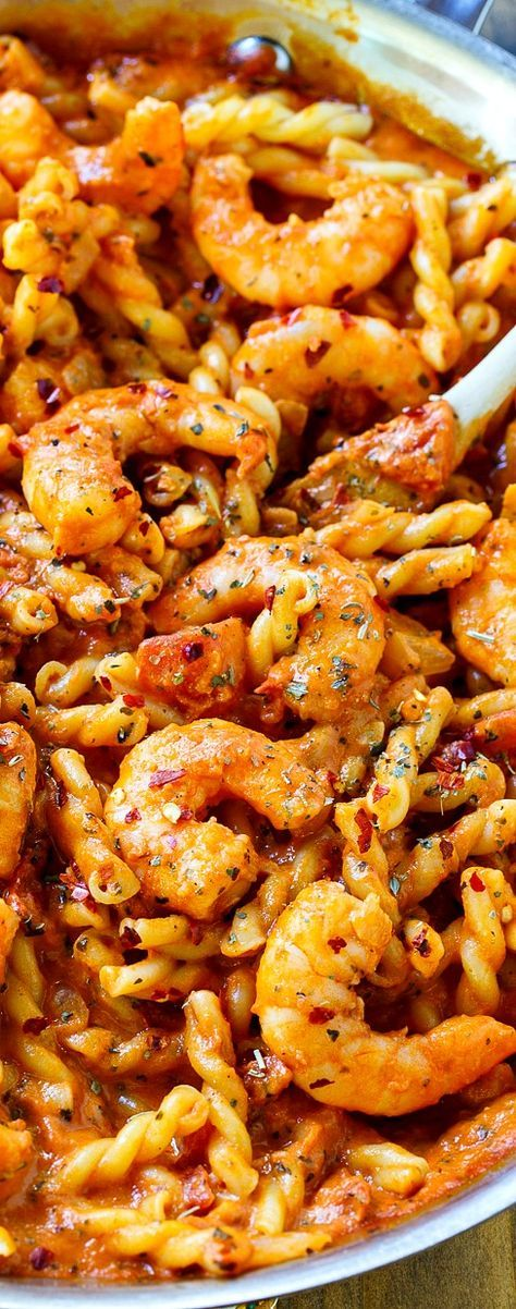 Spicy Shrimp and Tomato Cream Pasta can be made in just 20 minutes!