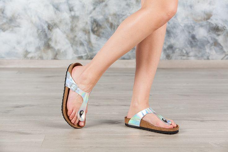 Tongs #Birkenstock ® Gizeh couleur argenté pour femme en birko-Flor® Miroir (#Mirror Silver) - BK846941 | Birkenstock France